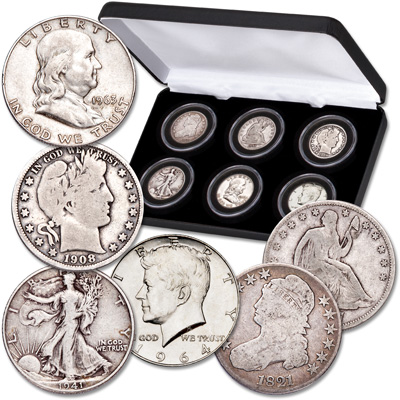 Image for 1807-1964 Half Dollar Type Set in Display Case from Littleton Coin Company