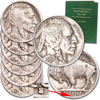 Image for 1929-1937 Buffalo Nickel Set with Folder from Littleton Coin Company