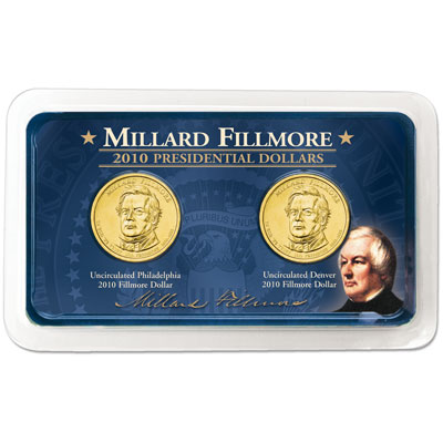 Image for 2010 P&D Millard Fillmore Presidential Dollars in Showpak, Uncirculated, MS60 from Littleton Coin Company