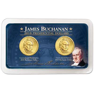 Image for 2010 P&D James Buchanan Presidential Dollars in Showpak, Uncirculated, MS60 from Littleton Coin Company