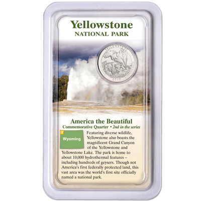 Image for 2010 Yellowstone America's National Park Quarter in Showpak, Uncirculated, MS60 from Littleton Coin Company