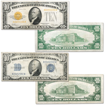 Image for 1928-1934 $10 Silver & Gold Certificates Set, Very Good from Littleton Coin Company