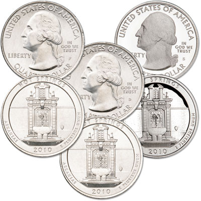 Image for 2010 PDS Hot Springs Quarter Set (3 coins) from Littleton Coin Company