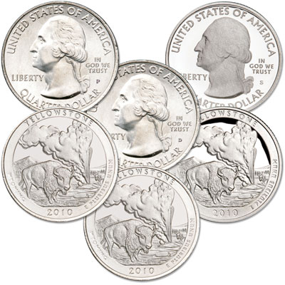Image for 2010 PDS Yellowstone Quarter Set (3 coins) from Littleton Coin Company