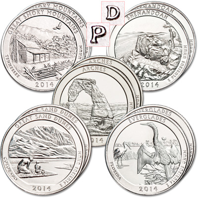 Image for 2014 National Park Quarter Year Set (10 coins) from Littleton Coin Company