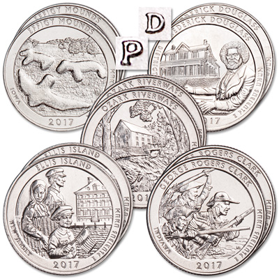 Image for 2017 P&D National Park Quarter Year Set from Littleton Coin Company