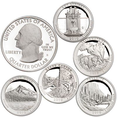 Image for 2010-S Clad America's National Park Quarter Proofs (5 coins), Choice Proof, PR63 from Littleton Coin Company