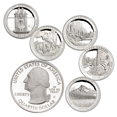 Image for 2010-S 90% Silver America's National Park Quarter Proofs (5 coins), Choice Proof, PR63 from Littleton Coin Company