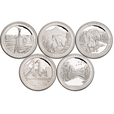 Image for 2011-S 90% Silver America's National Park Quarter Proofs (5 coins) from Littleton Coin Company