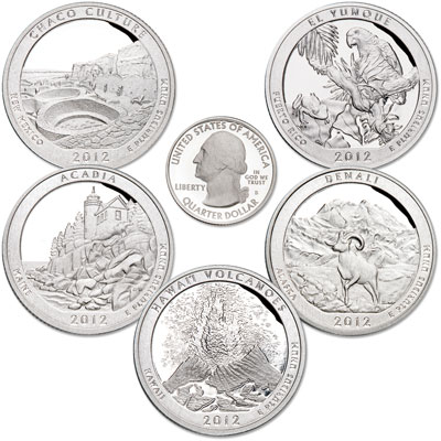Image for 2012-S 90% Silver America's National Park Quarter Proofs (5 coins) from Littleton Coin Company