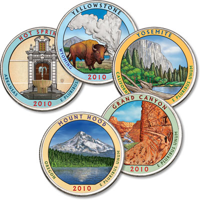 Image for 2010 Colorized National Park Quarter Year Set from Littleton Coin Company