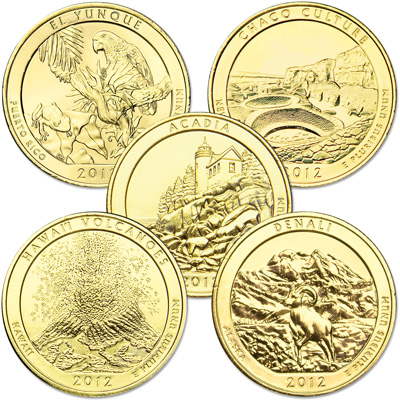 Image for 2012 Gold-Plated National Park Quarter Year Set from Littleton Coin Company