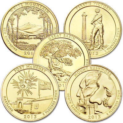 Image for 2013 Gold-Plated National Park Quarter Year Set from Littleton Coin Company