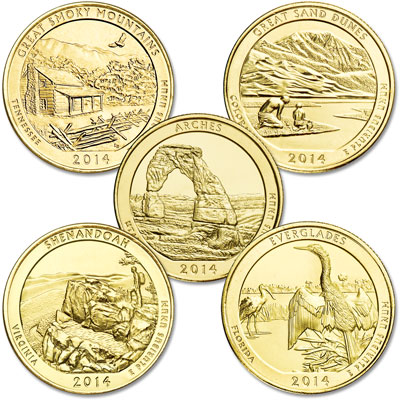 Image for 2014 Gold-Plated National Park Quarter Year Set from Littleton Coin Company