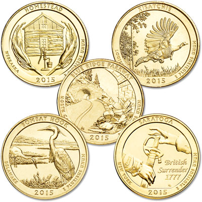Image for 2015 Gold-Plated National Park Quarter Year Set from Littleton Coin Company