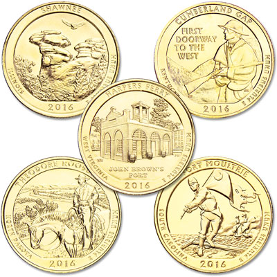 Image for 2016 Gold-Plated National Park Quarter Year Set from Littleton Coin Company