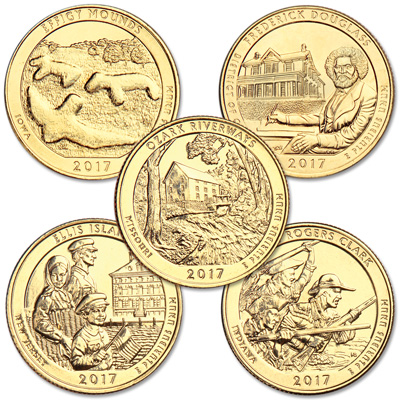 Image for 2017 Gold-Plated National Park Quarter Year Set from Littleton Coin Company