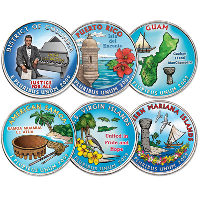 Image for 2009 Colorized Territories Quarters Year Set from Littleton Coin Company
