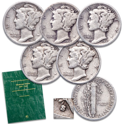 "Image for 1935-1939 ""S"" Mint Mercury Dime Set with Folder from Littleton Coin Company"