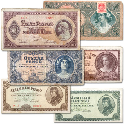 Image for 1945-1946 Hungary Hyperinflation Set (6 notes) from Littleton Coin Company