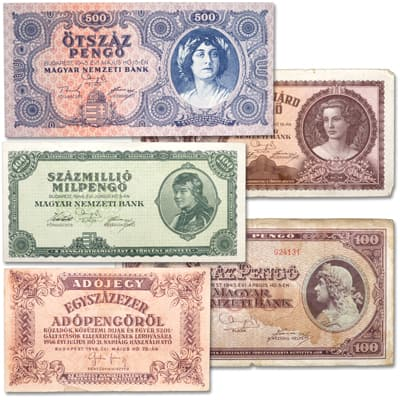 Image for 1945-1946 Hungary Hyperinflation Note Set from Littleton Coin Company