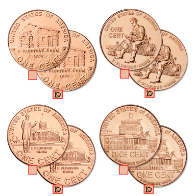 Image for 2009 P&D Lincoln Cent Anniversary Set (8 coins) from Littleton Coin Company
