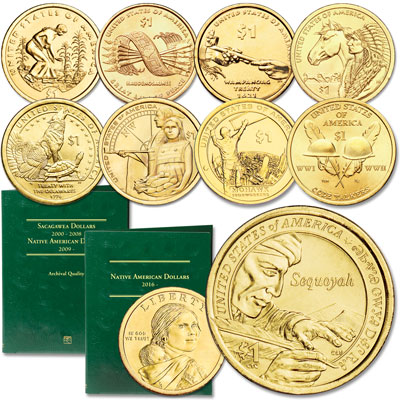 Image for 2009-2017 P&D Native American Dollar Set with Folder from Littleton Coin Company