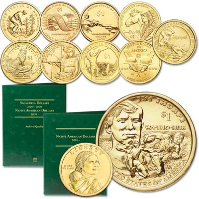 Image for 2009-2018 P&D Native American Dollar Set with Folder from Littleton Coin Company