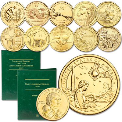 Image for 2009-2019 P&D Native American Dollar Set with Folder from Littleton Coin Company