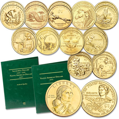Image for 2009-2020 P&D Native American Dollar Set with Folder from Littleton Coin Company
