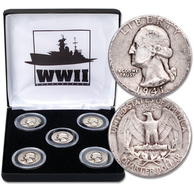 Image for 1941-1945 Washington Silver Quarter Set (5 coins) from Littleton Coin Company
