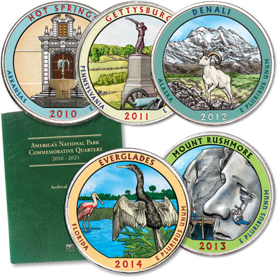 Image for 2010-2014 Colorized National Park Quarter Set with Folder (25 coins) from Littleton Coin Company