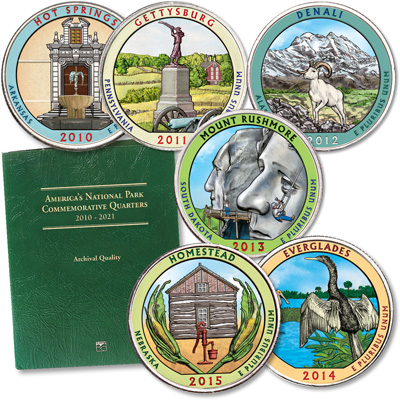 Image for 2010-2015 Colorized National Park Quarter Set with Folder from Littleton Coin Company