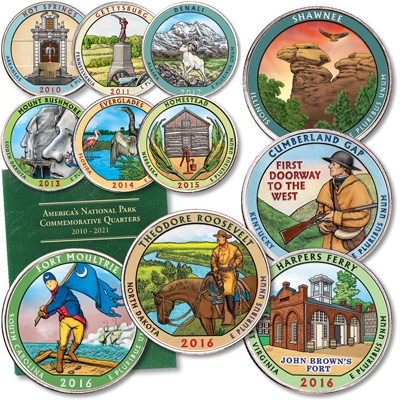 Image for 2010-2016 Complete Colorized National Park Quarter Set with Folder from Littleton Coin Company