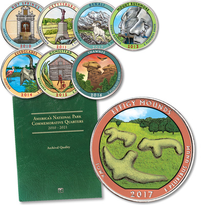 Image for 2010-2017 Complete Colorized National Park Quarter Set with Folder from Littleton Coin Company