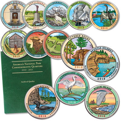 Image for 2010-2018 Complete Colorized National Park Quarter Set with Folder from Littleton Coin Company