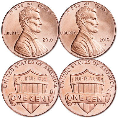 Image for 2010 P&D Lincoln Head Cent Set, Uncirculated, MS60 from Littleton Coin Company