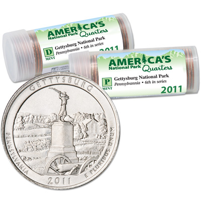 Image for 2011 P&D Gettysburg America's National Park Quarter Roll Set (80 coins), Uncirculated, MS60 from Littleton Coin Company