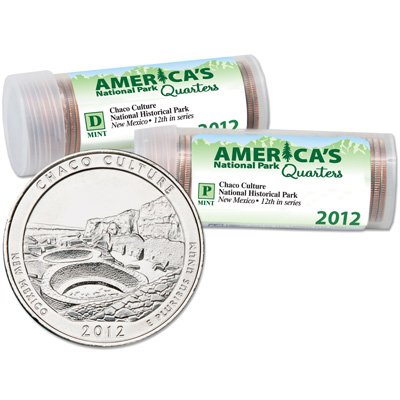 Image for 2012 P&D Chaco Culture National Historical Park Quarter Roll Set (80 coins) from Littleton Coin Company