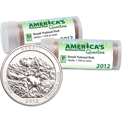 Image for 2012 P&D Denali National Park Quarter Roll Set (80 coins) from Littleton Coin Company