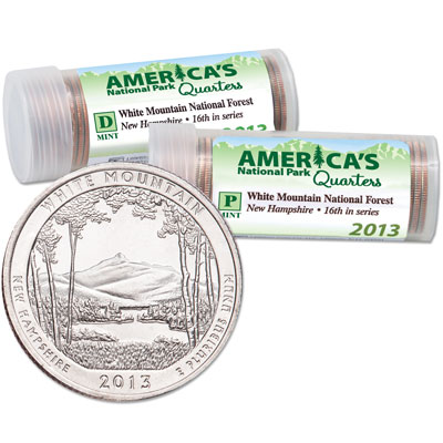 Image for 2013 P&D White Mountain National Forest  Quarter Roll Set (80 coins) from Littleton Coin Company