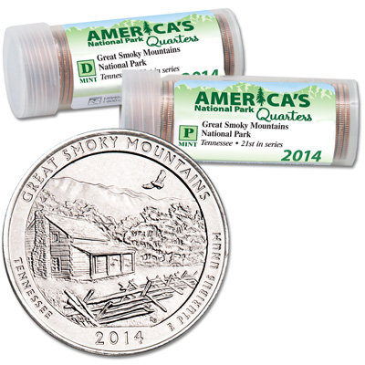 Image for 2014 P&D Great Smoky Mountains National Park Quarter Roll Set (80 coins) from Littleton Coin Company