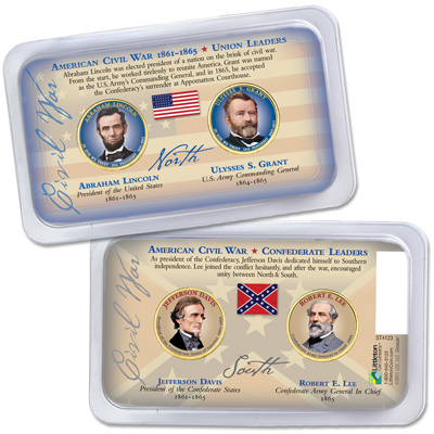 Image for Colorized Presidential Dollars in Civil War Showpak from Littleton Coin Company