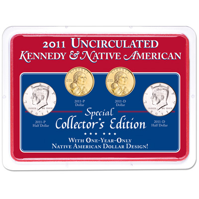 Image for 2011 P&D Kennedy Half Dollar & Native American Dollar Set in Showpak from Littleton Coin Company