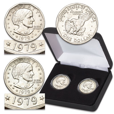 Image for 1979 Near & Far Date Susan B. Anthony Dollar Set with Case from Littleton Coin Company