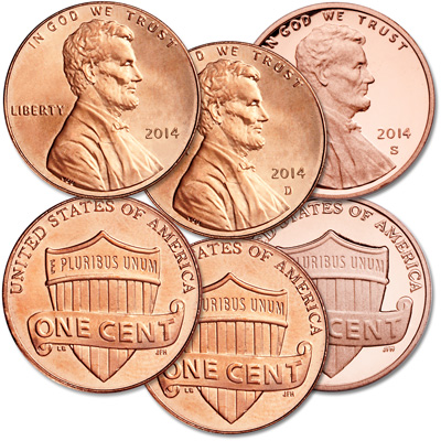 Image for 2014 PDS Lincoln Cent Set (3 coins) from Littleton Coin Company
