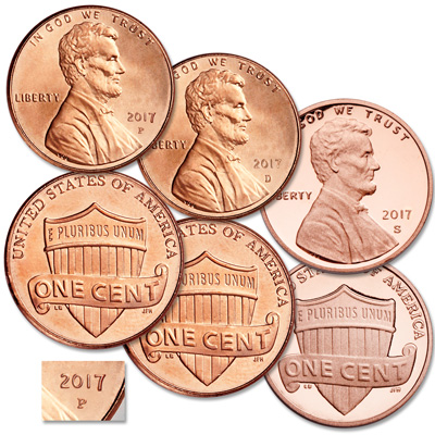 Image for 2017 PDS Lincoln Cent Set from Littleton Coin Company
