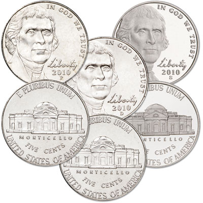 Image for 2010 PDS Jefferson Nickel Set (3 coins) from Littleton Coin Company