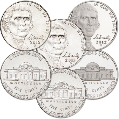 Image for 2012 PDS Jefferson Nickel Set (3 coins) from Littleton Coin Company