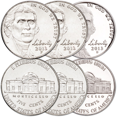 Image for 2013 PDS Jefferson Nickel Set (3 coins) from Littleton Coin Company